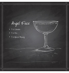 Coctail angel face on black board vector