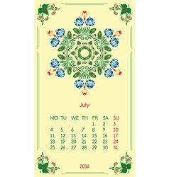 Template calendar 2016 for month july vector