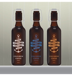 Cold brew coffee bottle set vector