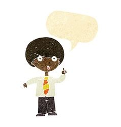 Cartoon school boy answering question with speech vector