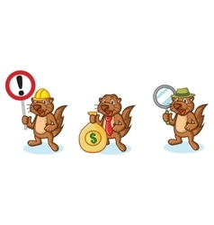 Brown sea otter mascot with money vector