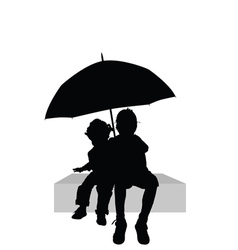 Children sitting under umbrella part two vector