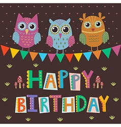Happy birthday greeting card with cute owls vector