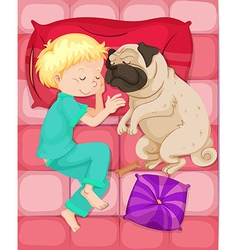 Boy sleeping with pet dog in bed vector
