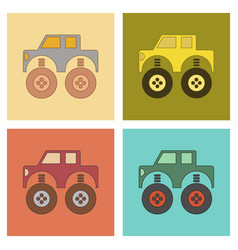 Assembly flat icons kids toy car vector