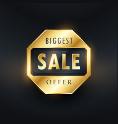 Biggest sale offer golden label design vector