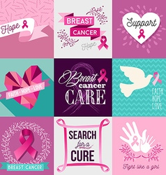 Breast cancer awareness campaign flat design set vector