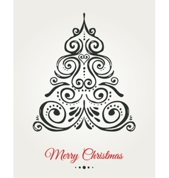 Chalkboard vintage style christmas tree vector