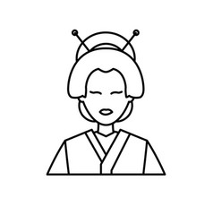 Character japanese girl geisha traditional vector