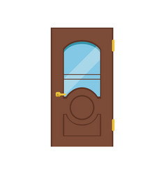 classic wooden door with glass closed elegant vector image