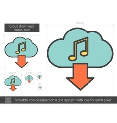Cloud download music line icon vector