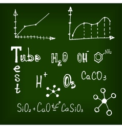 Different chemical elements on the blackboard vector image vector image