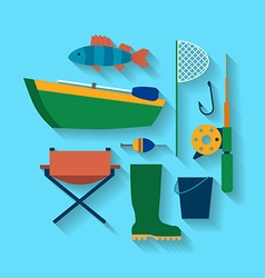 Fishing design concept set style flat vector