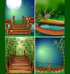 Four forest scenes at night time vector