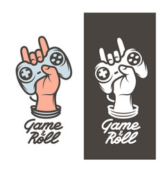 game and roll t-shirt design hand with joystick vector image vector image