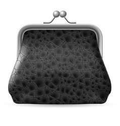 gray leather purse on white background vector image vector image