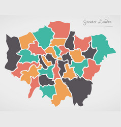 Greater london england map with states and modern vector