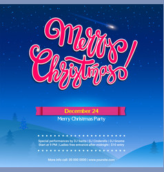 merry christmas party background with lettering vector image