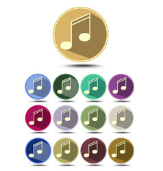 Music icon set note symbol in flat design with vector