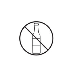 no alcohol line icon prohibited sign vector image vector image