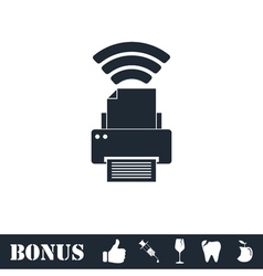 Printer with wi-fi connection icon flat vector