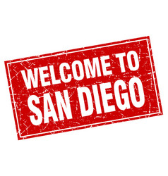 San diego red square grunge welcome to stamp vector
