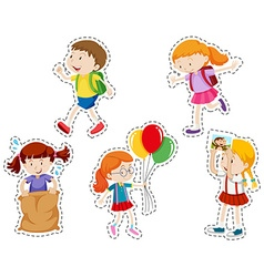 Sticker set with boy and girl vector image vector image