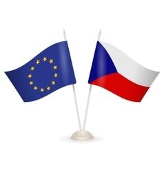 Table stand with flags of czech republic and us vector