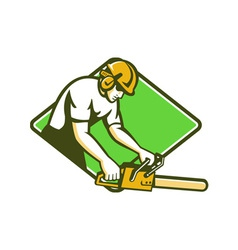 tree surgeon arborist lumberjack chainsaw vector image