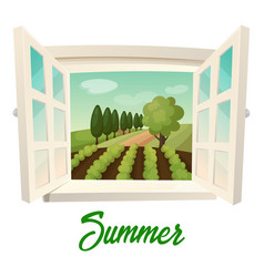 Window with view on summer farm or garden vector