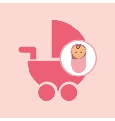 cute newborn girl on pink blanket and pram vector image