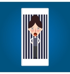 Trapped inside phone jailed because mobile post vector