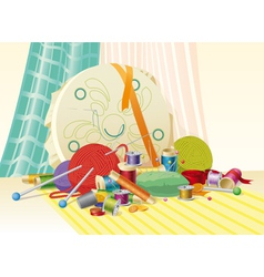 Sewing kit still life vector