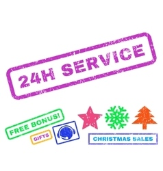 24h service rubber stamp vector