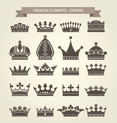 Heraldic symbols - royal crowns icon set vector