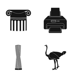 Tribune printer and other web icon in black style vector