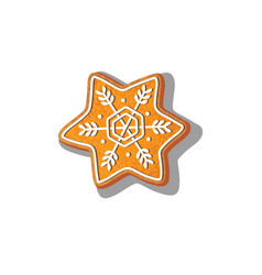 Gingerbread snowflake cookie isolated vector