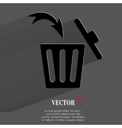 Trash bin flat modern web button with long shadow vector