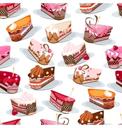 Seamless pattern with cake slices vector