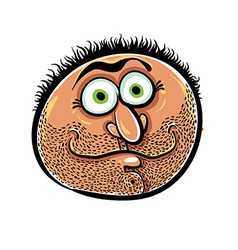 Funny cartoon face with stubble vector