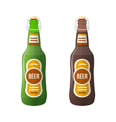 Colored flat couple beer bottles lightning stopper vector