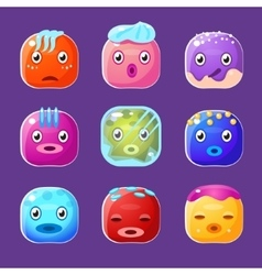Funny colorful square faces set emotional cartoon vector