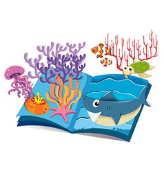 Book of underwater and sea animals vector