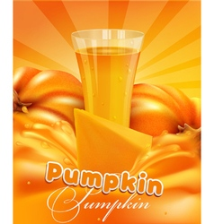 Pumpkin and a glass of pumpkin juice vector