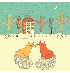 Retro fox christmas card vector