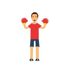 active teen boy in boxing gloves boy doing sport vector image vector image
