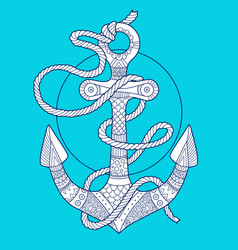 Anchor and rope fashion vector