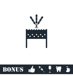 Barbecue grill with shashlik icon flat vector