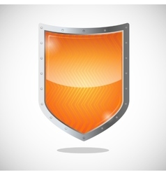 Blank orange gold shield in metallic frame vector