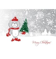 Christmas card design with funny bear vector